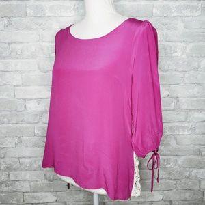 Chelsea & Violet Crochet Back 3/4 Sleeve Blouse M